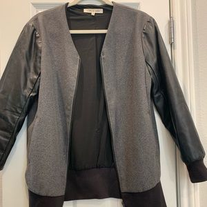 ROBBI & NIKKI faux leather and wool bomber jacket